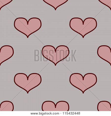 Seamless Pattern With Hearts On A Black Background.