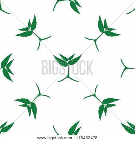 Growing Green Plants, Vector Pattern.