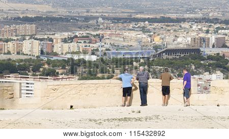 Tourists Admire The Surroundings Of Alicante