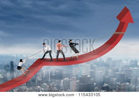 Group Of Worker Pulling Arrow Upward