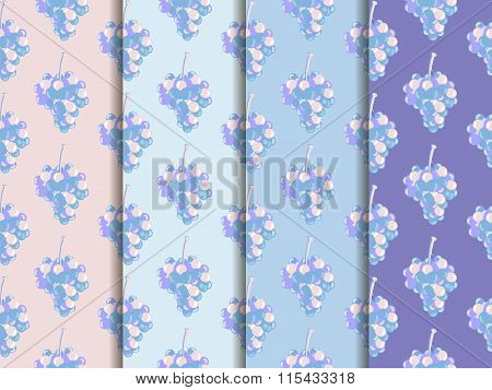 Bunch Of Grapes. Set Of Seamless Patterns. Wallpapers With Grapes. Rose Quartz And Serenity Violet C