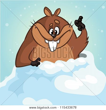 Vector funny groundhog. Vector illustration for Groundhog Day isolated
