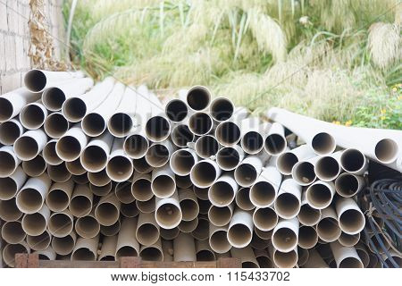 Plastic Pipes Laying At A Construction Site