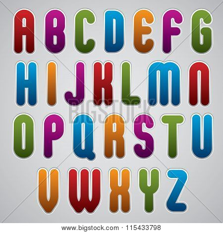 Vector Rounded Alphabet Letters, Bold And Condensed Font In Retro Poster Style.