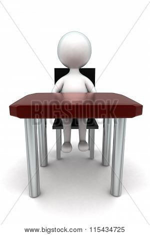 3D Man Sitting In Chait In Front Of Desk Concept