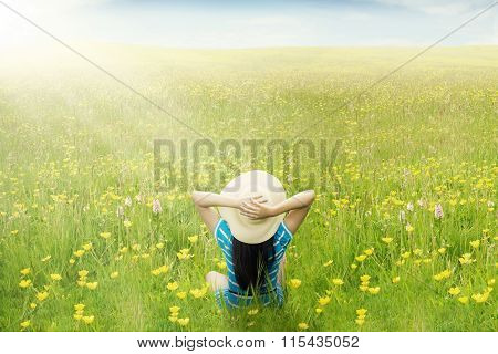 Happy Woman Enjoy Springtime On Meadow