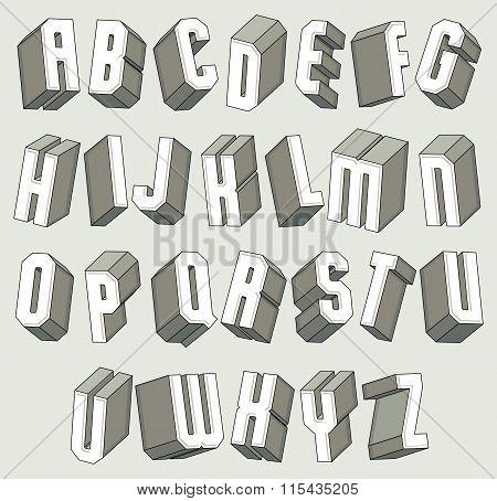 3D Font, Geometric Dimensional Letters Set.