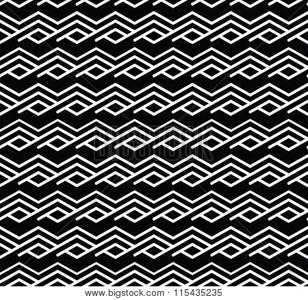 Monochrome Zigzag Abstract Textured Geometric Seamless Pattern. Symmetric Black And White Vector