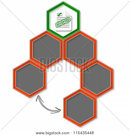 Six Colored Hexagons