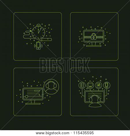 Set of pictogramm of computer symbols.