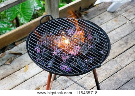 Barbecue Grill With Fire On Coals