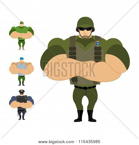 Soldiers. Set Of Strong Military People Of Defenders Of Fatherland. Marine Infantryman. Blue Beret.