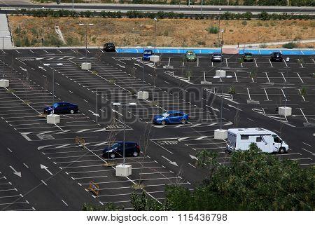 Toledo, Spain - August 24, 2012: Car Parking Near River Tajo