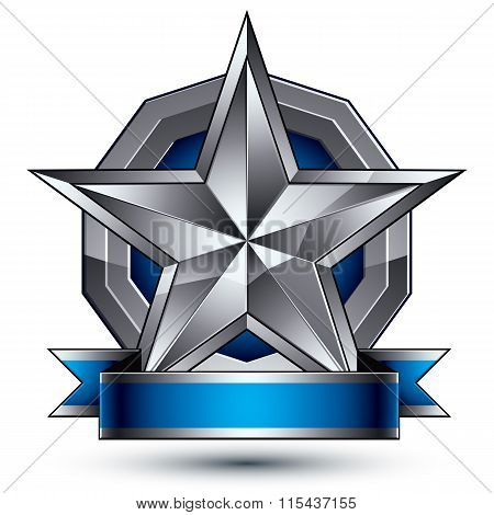 Heraldic Vector Template With Five-pointed Silver Star, Dimensional Royal Geometric Medallion With B