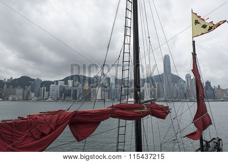 Red Sails In The Hong Kong Harbor