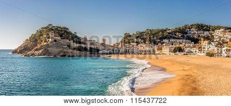 Panoramic View Of Tossa De Mar In Costa Brava, Catalonia
