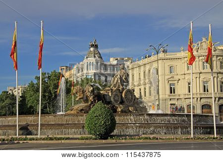 Madrid, Spain - August 25, 2012: Cibeles Fountain At Madrid, Spain