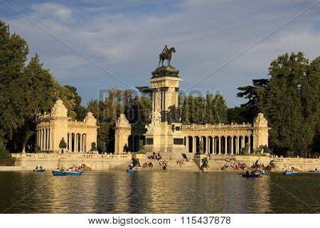 Madrid, Spain - August 25, 2012: The Monument To King Alfonso Xii In Buen Retiro Park (el Retiro), M