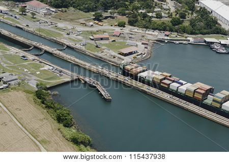 large cargo ship exiting Gatun Locks, Panama Canal