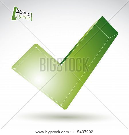 3D Mesh Colorful Validation Sign Isolated On White Background, Green Eco Checkmark Icon, green