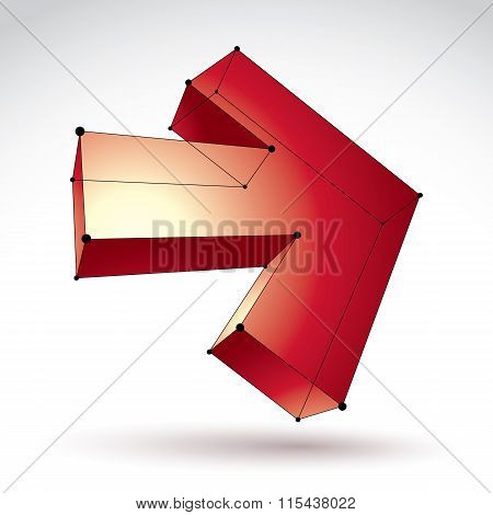 3D Mesh Trendy Colorful Forward Arrow Isolated On White Background, Lattice Bright Pointer Icon