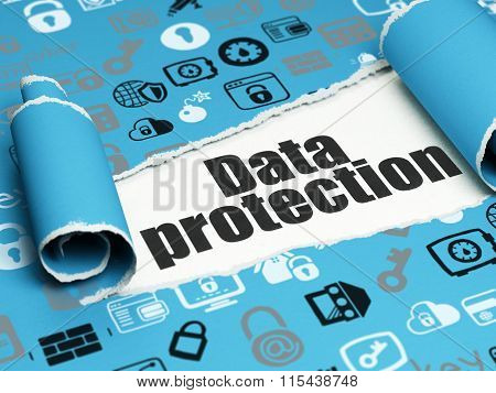 Privacy concept: black text Data Protection under the piece of  torn paper