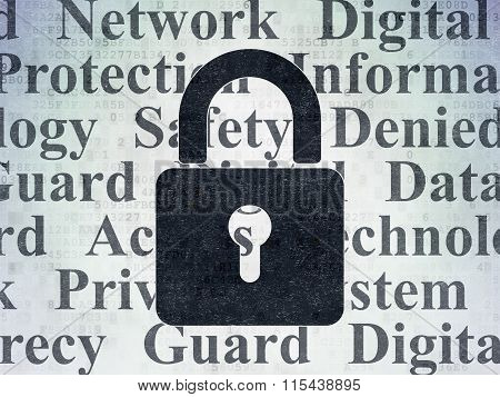 Protection concept: Closed Padlock on Digital Paper background