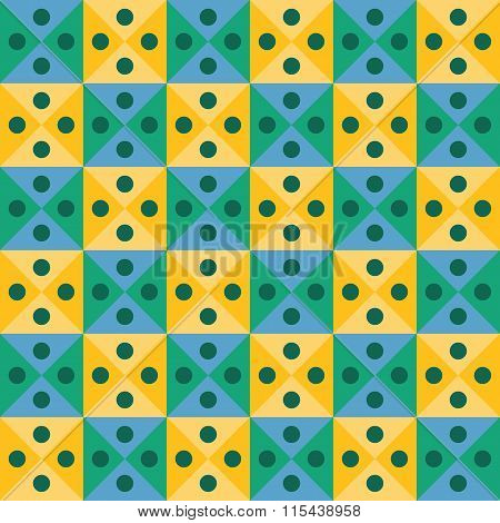 Vector modern seamless colorful geometry triangles dots pattern color yellow green abstract