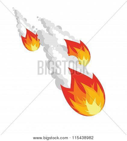 Falling Meteorite On White Background. Group Space Asteroids In Air. Ball Of Fire With White Smoke.