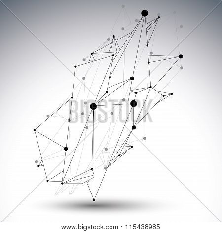 Spatial Technological Shape, Polygonal Single Color Eps8 Wireframe Creative Object Made From Lines A