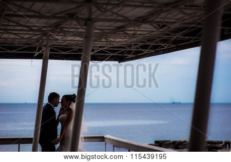 Beautiful newlyweds under the canopy by the seashore.