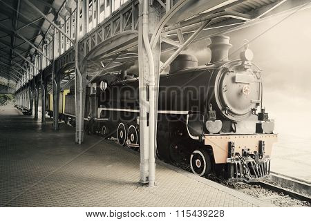 Old Steam Locomotive In The Museum
