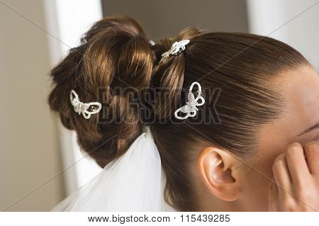 Bridal hairstyle close up.