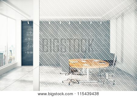 Conference Room With Window, Blackboard And Glass Wall With Copy Space