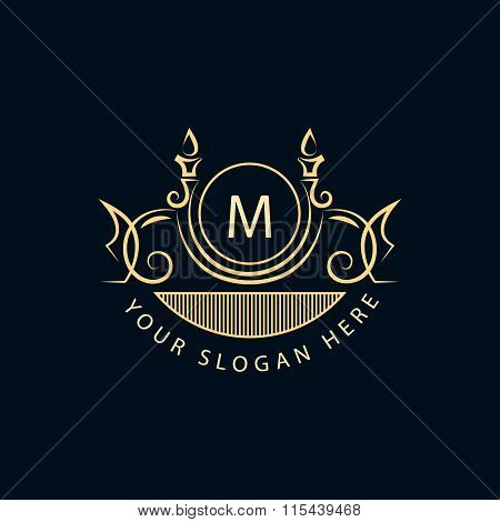 Monogram Design Elements, Graceful Template. Calligraphic Elegant Line Art Logo Design. Letter Sign