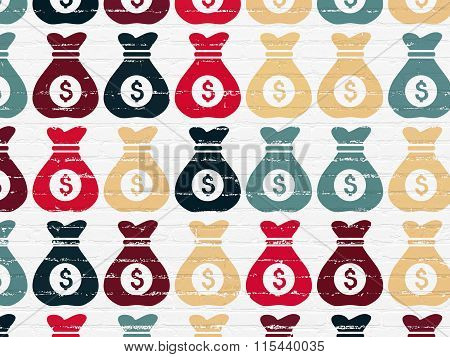Finance concept: Money Bag icons on wall background