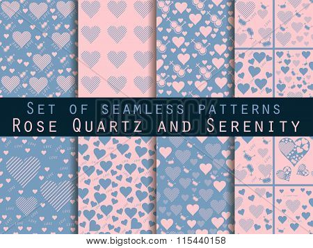 Set Of Seamless Patterns With Hearts. Love Patterns. Rose Quartz And Serenity Violet Colors.