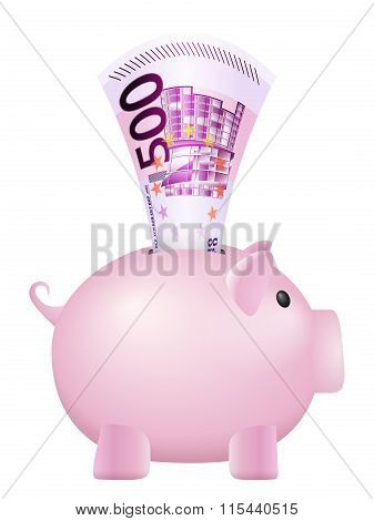 Piggy Bank Five Hundred Euro Banknote