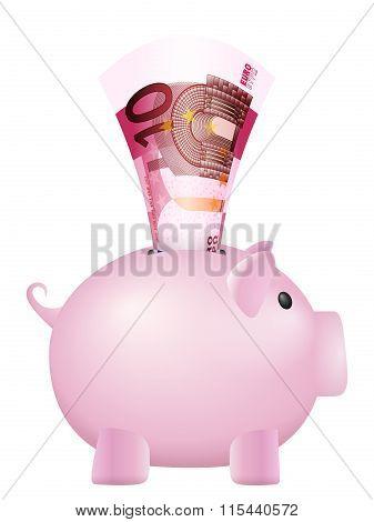 Piggy Bank Ten Euro Banknote