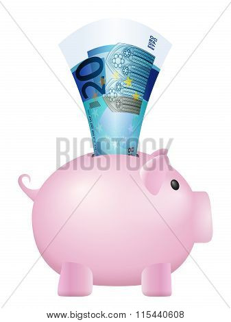 Piggy Bank Twenty Euro Banknote
