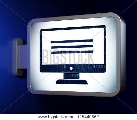 Web design concept: Monitor on billboard background