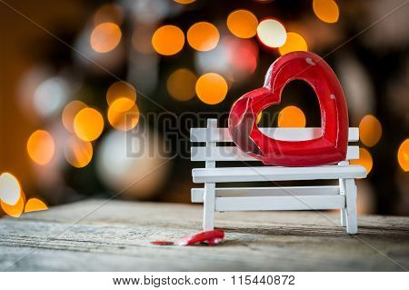 Valentine Broken Heart On A Wooden Bench