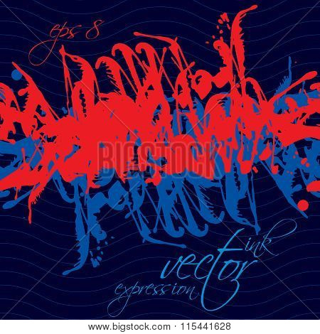 Colorful Watercolor Splash Overlay Elements, Red And Blue Expressive Paint Seamless Backdrop