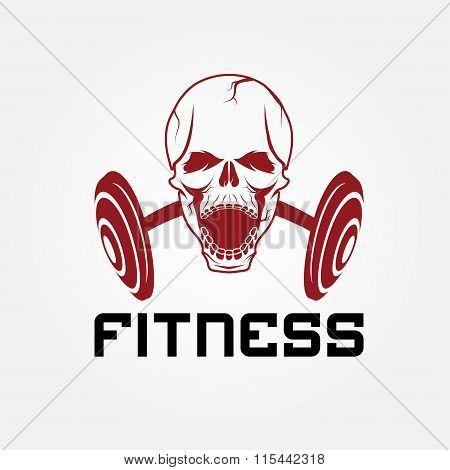 Aggressive Skull And Barbell Fitness Emblem