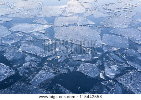Iced River, Iced Water , Ice Floes On Water Closeup