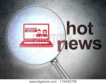 News concept: Breaking News On Laptop and Hot News with optical glass