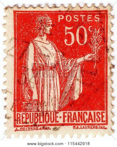France - Circa 1921: Stamp Printed In France Shows Image Of Marianne Semeuse, The National Emblem Of