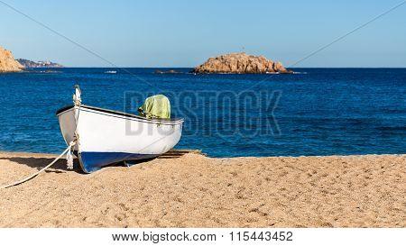 Fishermen's Boat On A Beach, Tossa De Mar, Costa Brava, Catalonia