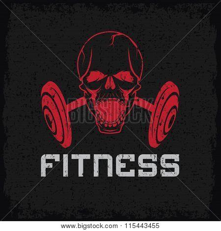 Grunge Aggressive Skull And Barbell Fitness Emblem