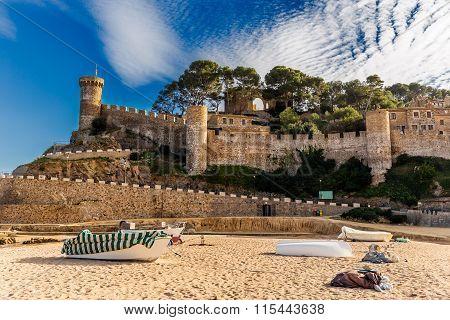 Tossa De Mar Castle And Walls In Costa Brava, Catalonia
